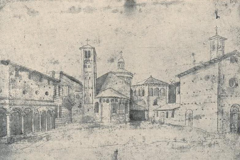 Базилика Сан Витторе и капелла Сан Джорджо до реконструкции — рисунок 16 века.