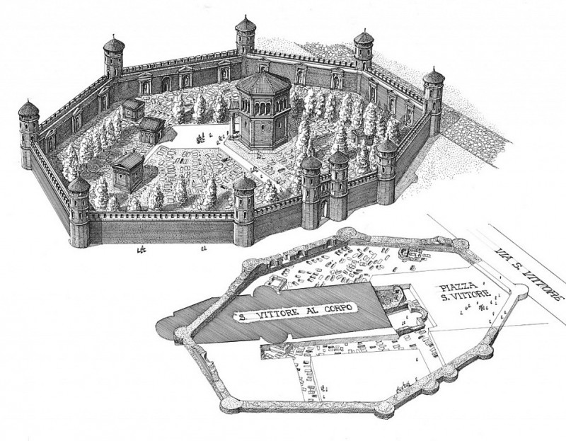 План императорского мавзолея с восьмиугольной оградой, внутри которой обозначено расположение базилики.
