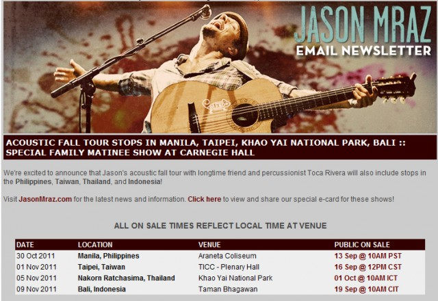 Jason Mraz is coming to Manila!