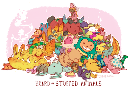 hoard of stuffed animals