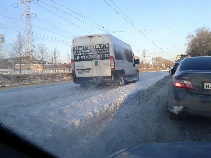 Маршрутка на пути к перекрестку Трамвайная и Уфимское шоссе