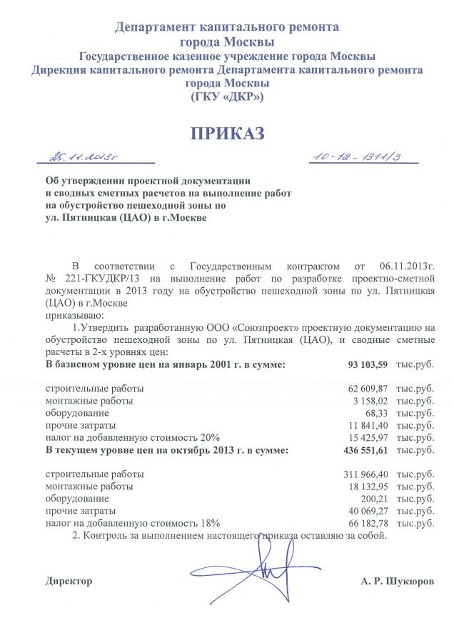 Приказ ССР Пятницкая