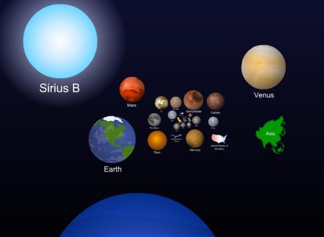 Размеры небесных тел