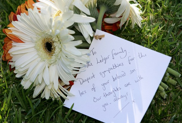 A small floral tribute is pictured at the front of the Indiana Tea House as family and friends attend the private wake for Heath Ledger on February 9, 2008 in Cottesloe, Australia.