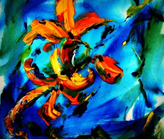 Flower, in orange, acrylic painting by Maine artist L. Proctor-Lefebvre