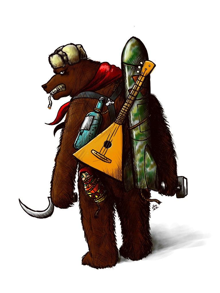 Картинка медведь в шапке ушанке с автоматом