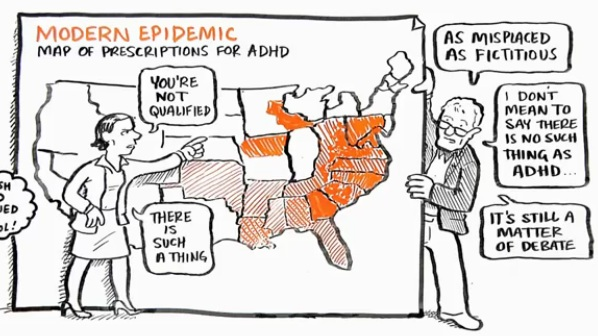 Карта диагностики СДВГ в США