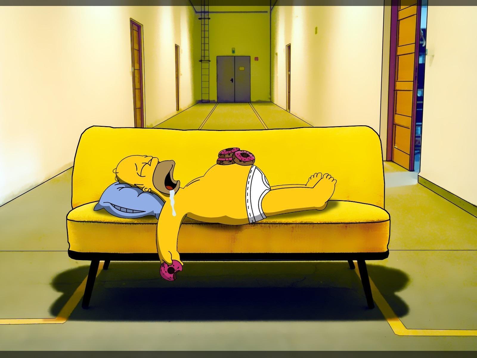 Homer-Simpson-Sleeps-on-the-Sofa-Doughnuts