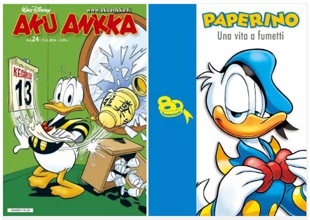 Кстати, имена героев локализуют не только у нас. В Финляндии, где Дональд популярен так, что за него иногда голосуют на выборах в знак протеста, селезня зовут Аку Анкка. А в Италии он известен как Паперино.