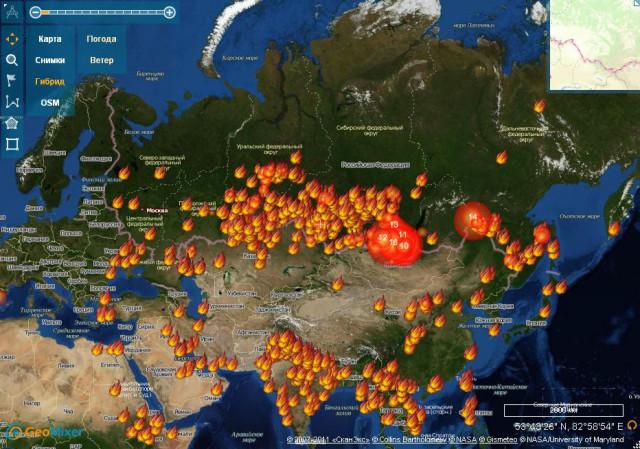 Космоснимки. Мониторинг пожаров. http://fires.kosmosnimki.ru/