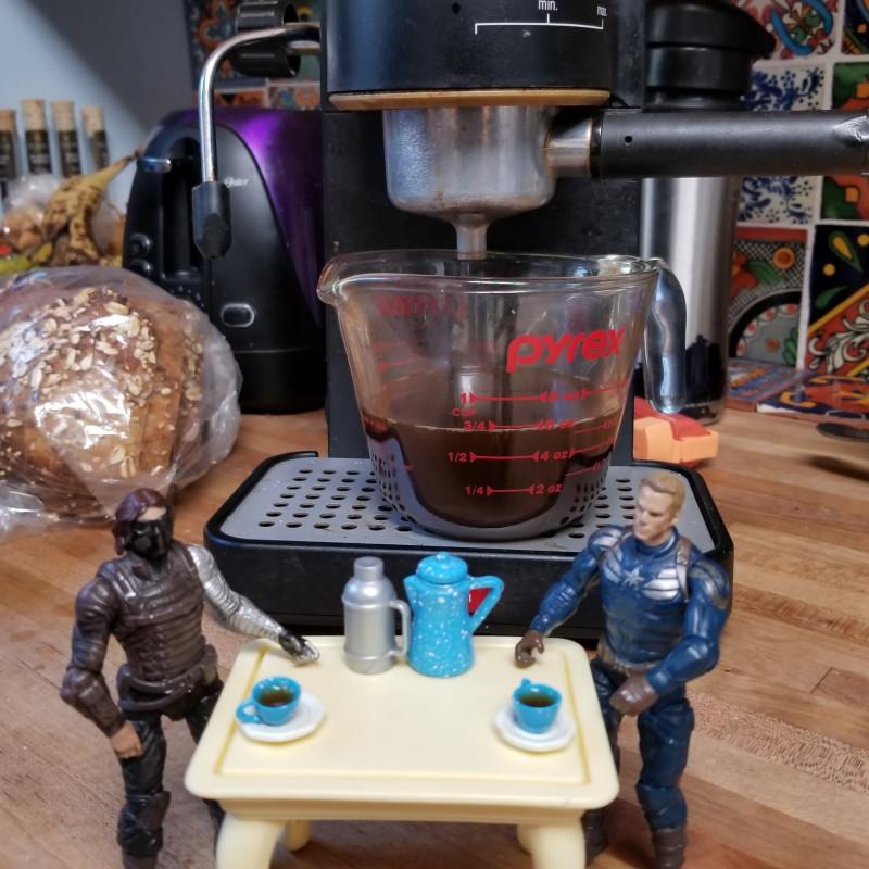 Bucky and Steve enjoy espresso on National Espresso Day!