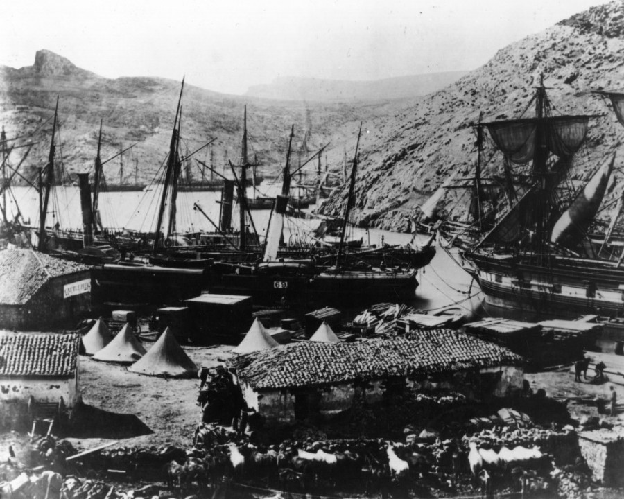 Корабли в бухте Казачьей, 1855 год