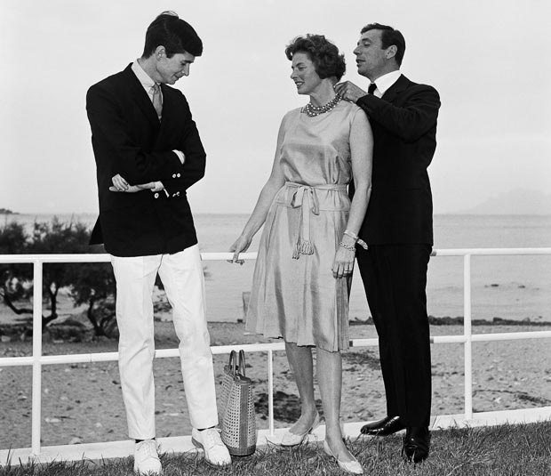 Anthony Perkins, Yves Montand and Ingrid Bergman, 1961