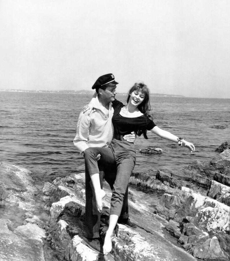 Eddie Constantine and Brigitte Bardot, 1955