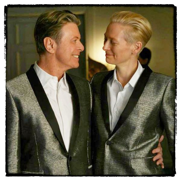 David Bowie & Tilda Swinton on the set of The Stars