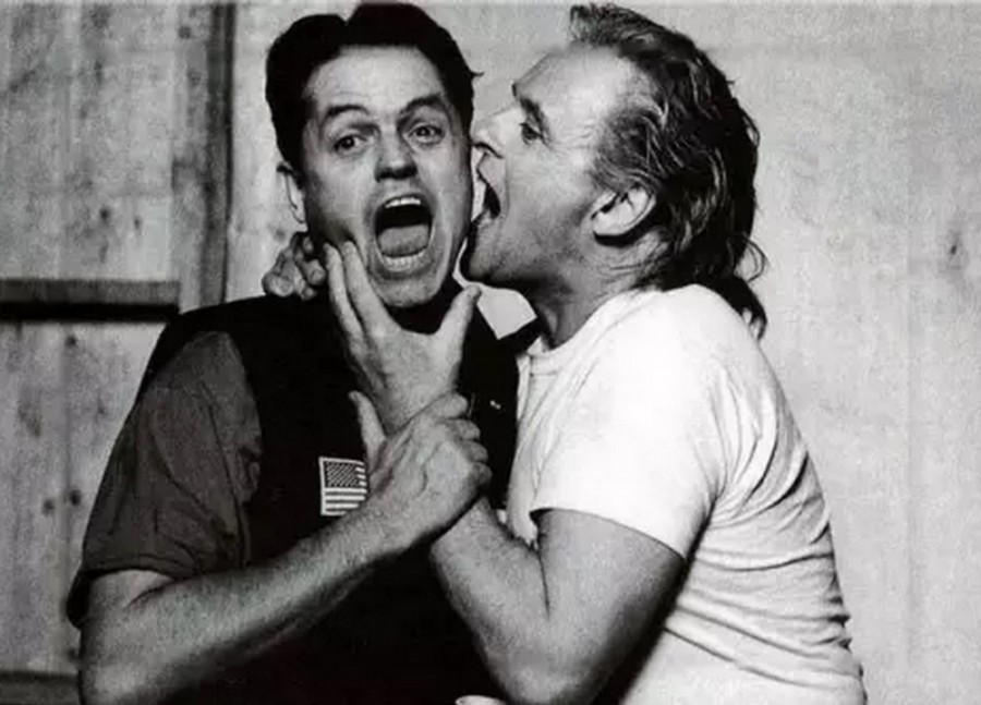 Director Jonathan Demme and Anthony Hopkins on the set of The Silence of the Lambs