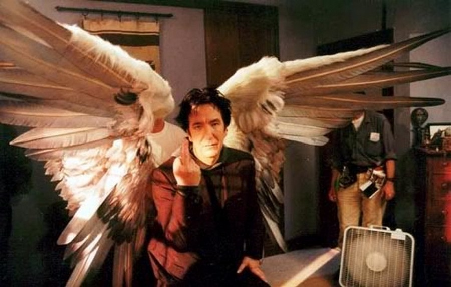 Alan Rickman on the set of Dogma