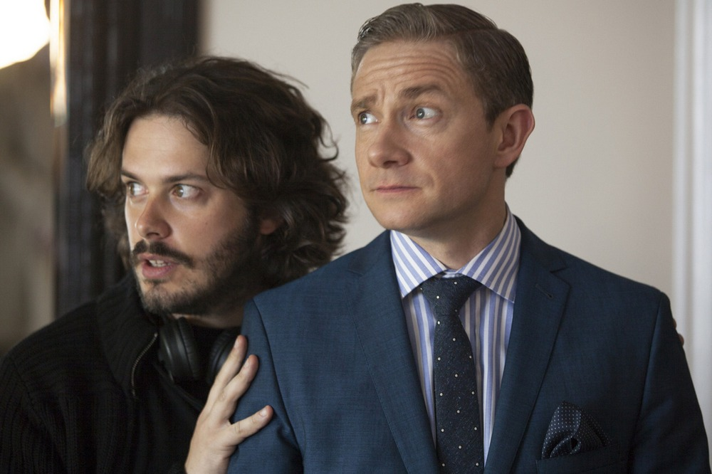 Edgar Wright and Martin Freeman on-set of The World's End