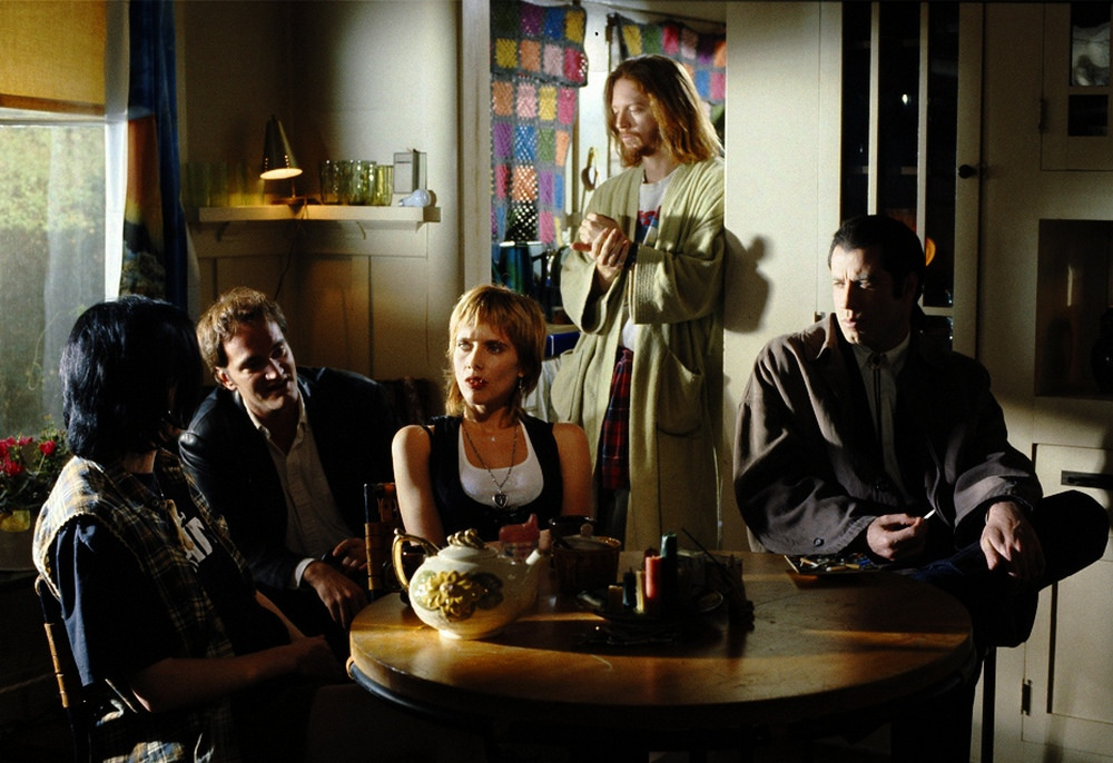 John Travolta with Quentin Tarantino, Rosanna Arquette and Eric Stoltz on the set of Pulp Fiction, 1994