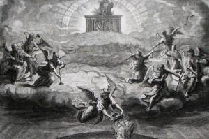 Opening the seals. Revelation cap 8 v 1-5. Mortier's Bible. Phillip Medhurst Collection.