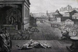 Two witnesses to be unbound. Revelation cap 11 v 3. Mortier's Bible. Phillip Medhurst Collection.