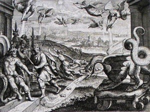 The angels pour out their vials of wrath. Revelation 16. Merian. Phillip Medhurst Collection.