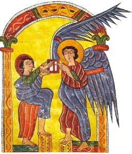 The angel gives John the letter to the churches of Asia, Beatus Escorial, circa 950.