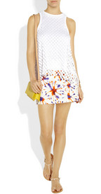 Milly - Printed cotton-blend broadcloth skirt