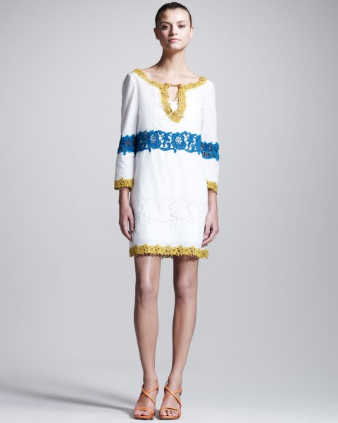 Philosophy-di-Alberta-Ferretti-Embroidered-Muslin-Tunic-Dress