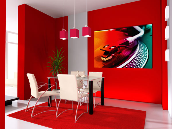 Red-color-dining-room-with-modern-interior