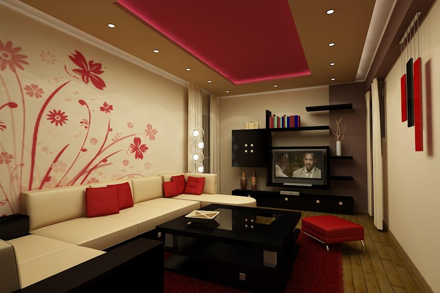 Decoration-in-red-living-room