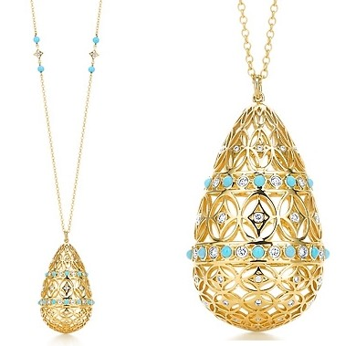 Paloma's Marrakesh turquoise and round brilliant diamonds. On a 34chain with turquoise beads 14500