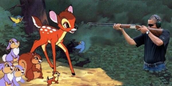 обама стреляет из ружья, обама