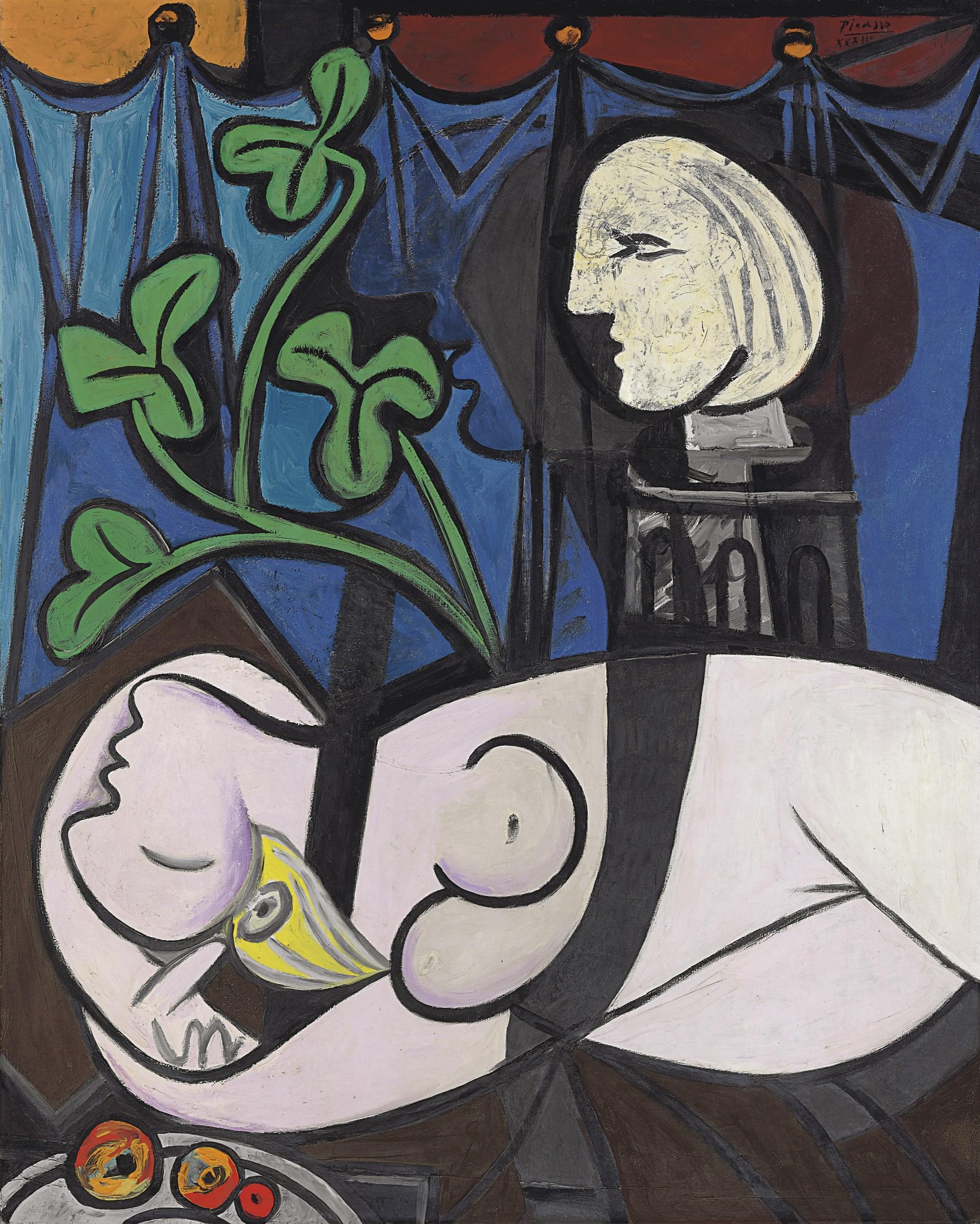 Обнаженная, зеленые листья и бюст, Пикассо