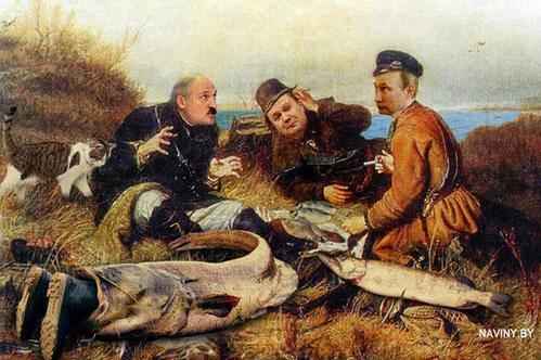 Путин, Лукашенко, Янукович, рыба