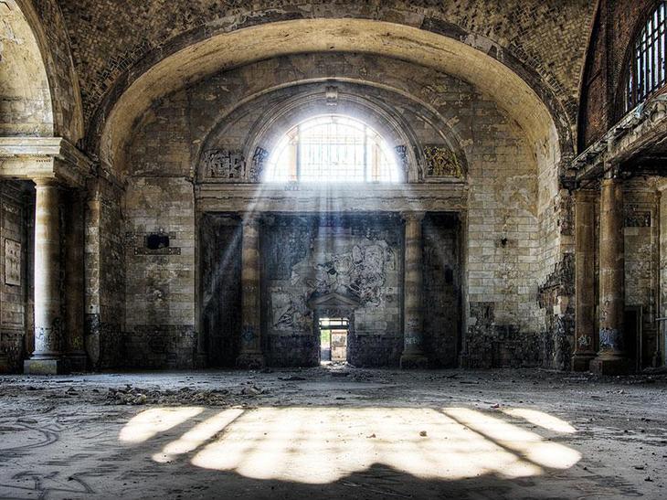 заброшенное место, мичиганский вокзал, США