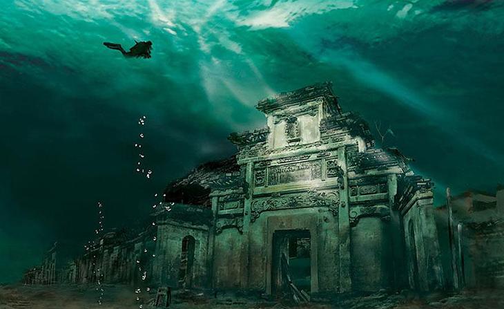 заброшенное место, китай, подводный город