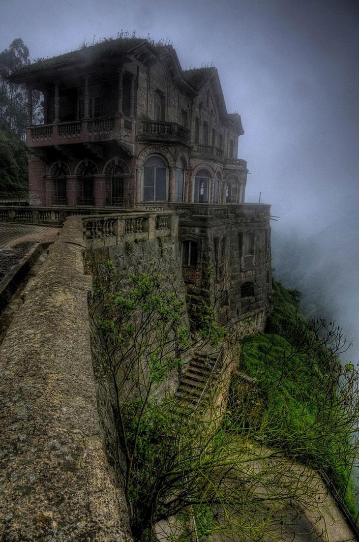 заброшенное место, отель, Колумбия, водопад