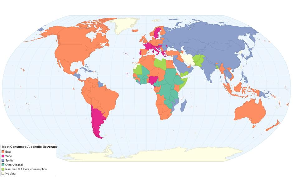 карта мира, где и что пьют