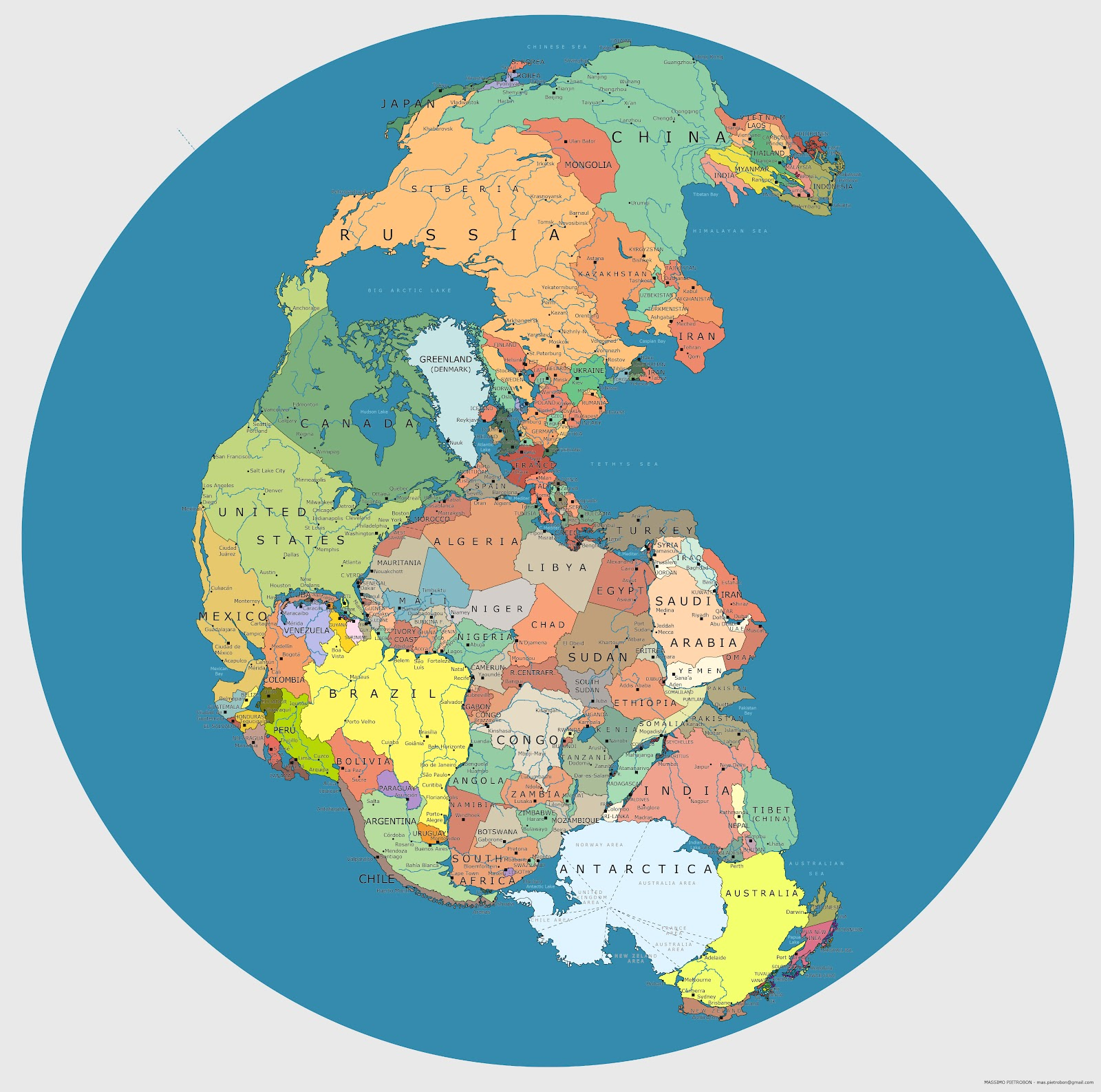 политическая карта мира, Пангея, суперконтинент