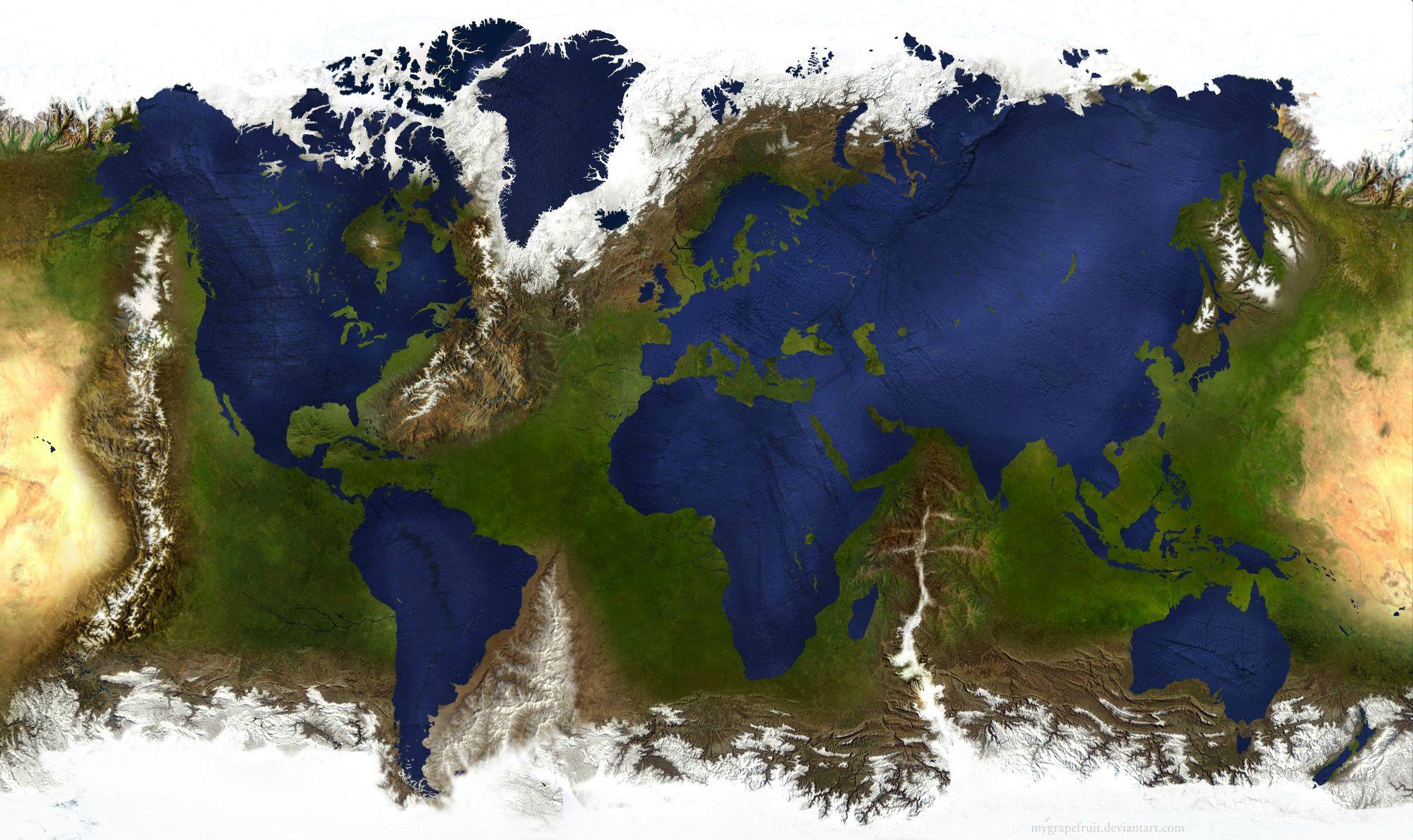 карта мира, суша и океаны поменяли местами