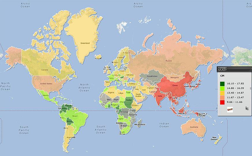 карта мира, размер пениса