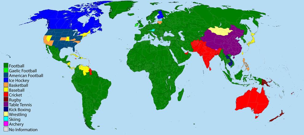 карта мира, самый популярный спорт