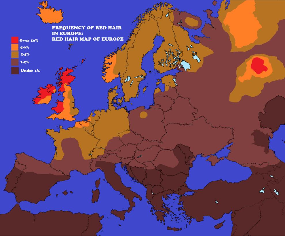 карта мира, рыжие, Европа