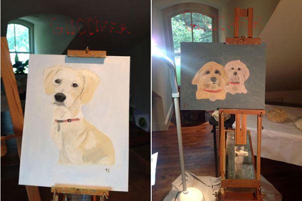 джордж буш, президент америки, художник, собаки