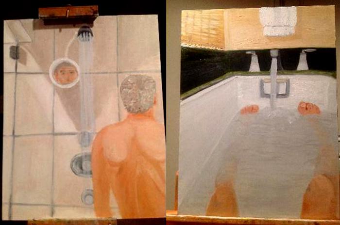 джордж буш, президент америки, художник, ню, автопортрет, ванная