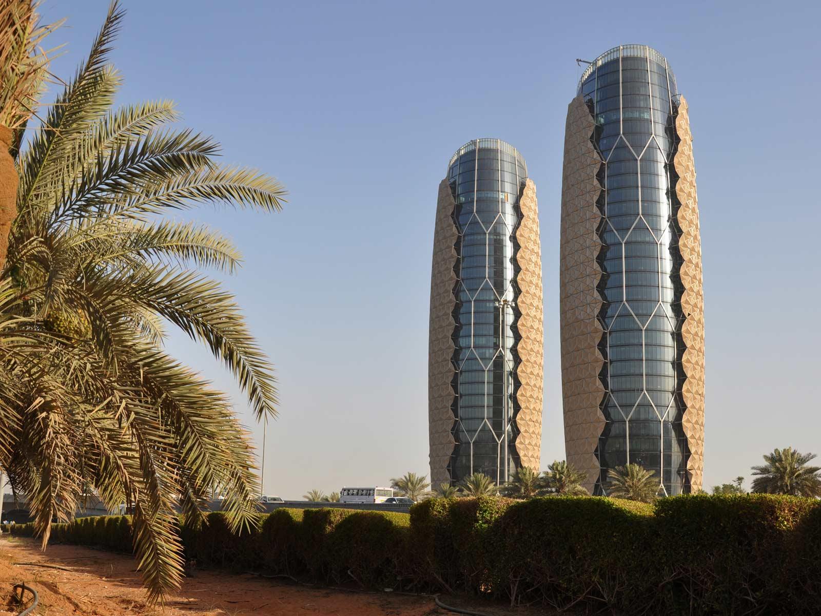 Al Bahr Towers башни, лучший небоскреб, Абу-Даби, ОАЭ