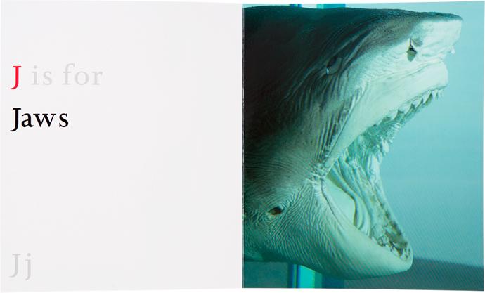 Damien Hirst, ABC, азбука, Дэмиен Херст, jaws, челюсти, Физическая невозможность смерти в сознании живущего, акула в формальдегиде