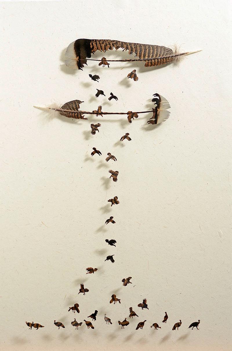 вырезание из перьев