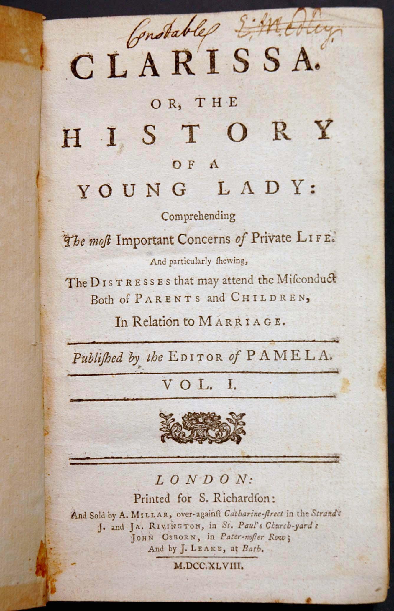 Сэмюэл Ричардсон, «Кларисса, или история юной леди»